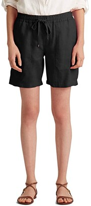 Lauren Ralph Lauren Linen Drawcord Shorts (Polo Black) Women's Shorts