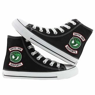 Gogofuture Riverdale Shoes Canvas Shoes Student Sports Shoes Casual Fashion Shoes Youth Campus Style Simple Adult Trend Wild Style Unisex (Color : Black02 Size : EU37 US6)