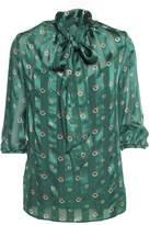 L'Autre Chose Printed-silk Blouse