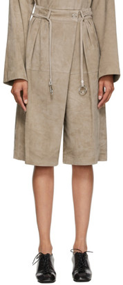 Lemaire Beige Suede Shorts