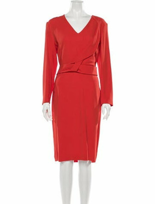 Roland Mouret V-Neck Midi Length Dress w/ Tags Orange