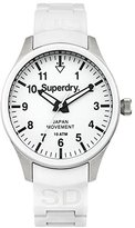 Superdry 'Scuba Midi' Quartz Brass-Plated-Stainless-Steel and Silicone Dress Watch, Color:White (Model: SYL120WL)