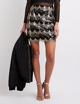 Charlotte Russe Scalloped Sequin Pencil Skirt