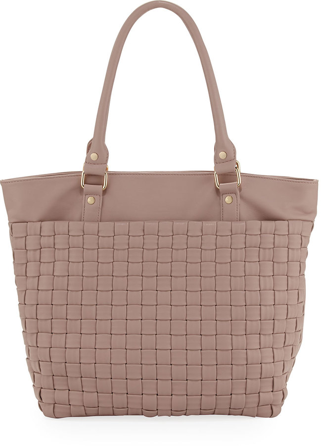 Neiman Marcus Faux-Leather Woven Tote, Blush