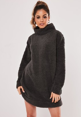 Missguided Dark Grey Borg Teddy High Neck Sweater Dress