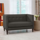 The Well Appointed House Five Button Loveseat in Linen Charcoal