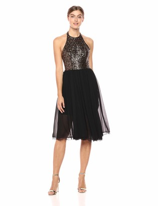 Dress the Population Women's Tatiana Sequin Halter Fit & Flare Midi Dress