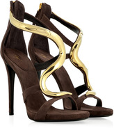 Giuseppe Zanotti Cacao Suede Sandals with Metal Strap