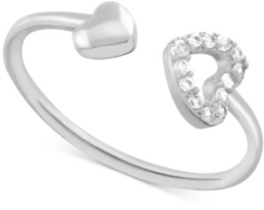 Essentials Crystal Heart Open Toe Ring in Fine Silver-Plate
