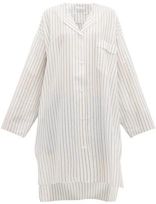 Raey Sheer Striped Cotton Shirtdress - White Stripe