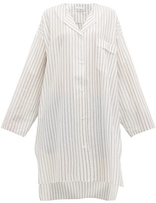 Raey Sheer Striped Cotton Shirtdress - Womens - White Stripe