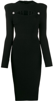 Balmain Cut-Out Knitted Midi Dress