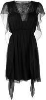 Alberta Ferretti lace panel silk dress