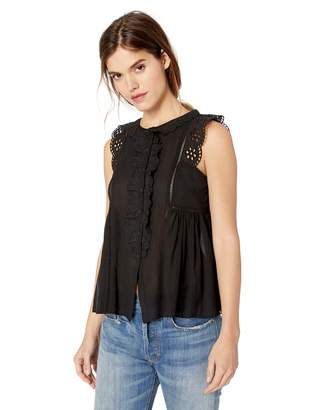 Max Studio Women's Sleeveless Lace Trimmed Ruffle Top