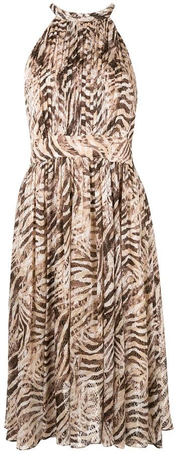 Elie Tahari Dominica animal print halter dress