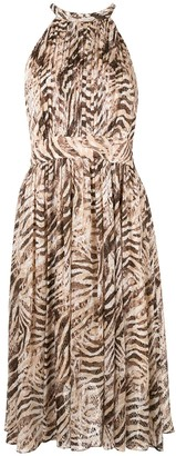 Elie Tahari Dominica animal print halter dress