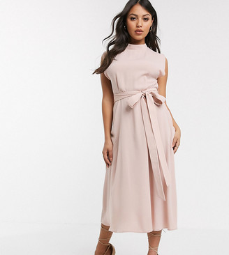 ASOS DESIGN Petite split cap sleeve high neck midi dress with skater skirt in pink