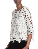 Tracy Reese Three-Quarter Sleeve Lace Shell