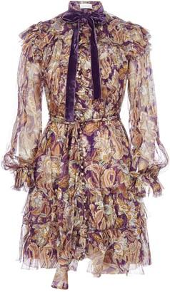 Zimmermann Ladybeetle Floral Print Silk Ruffled Dress