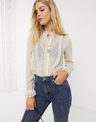 Topshop sheer blouse with frill edge in dobby mesh-Cream