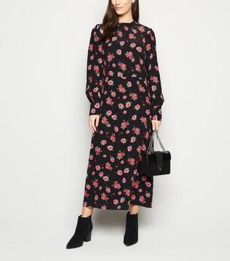 New Look Floral High Neck Cuffed Midi Dress