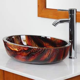 Elite Marble Hot Melted Rock Pattern Glass Oval Vessel Bathroom Sink Drain Finish: Chrome