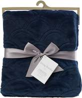 Living Textiles Scallop Embroidered Velour Blanket, Navy