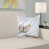 Butterfly with Caterpillar on Zebra Print Pillow Cover East Urban Home