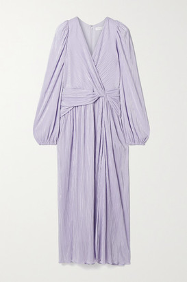 Jonathan Simkhai Gwynne Knotted Metallic Plisse-satin Midi Dress - Lavender