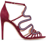 Alexandre Birman Flavia Embroidered Suede Sandals - Claret