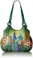 Anuschka Hand Painted Triple Compartment Medium Satchel