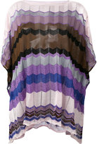 Missoni patterned poncho - women - Cotton/Polyester/Viscose - One Size