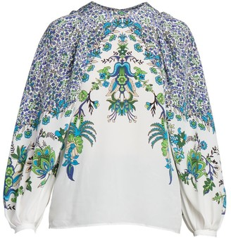 Givenchy Floral Puff-Sleeve Silk Blouse