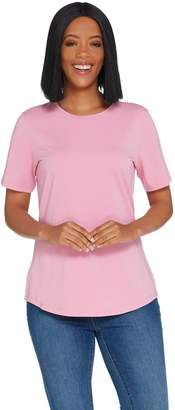 Denim & Co. Essentials Crew Neck Short Sleeve Knit Top