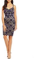 B. Darlin Spaghetti Strap Two-Tone Lace Sheath Dress