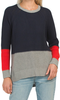 Color Block Thermal Stitch Sweater