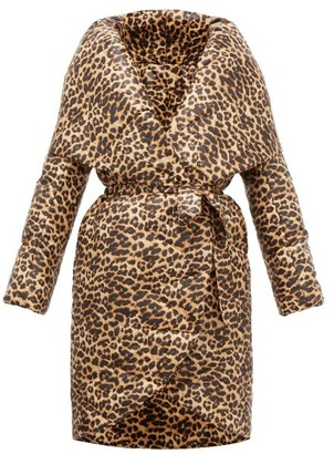 Norma Kamali Shawl-lapel Leopard-print Technical-shell Coat - Leopard