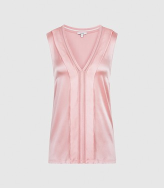 Reiss CHELSEA SILK BLEND V-NECK TOP Pink