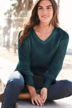 Next Womens Teal Pointelle V-Neck Jumper - Blue