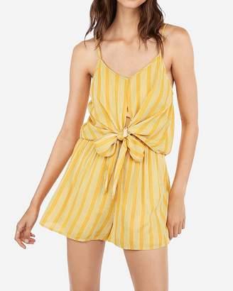 Express Printed Tie Overlay Flounce Romper