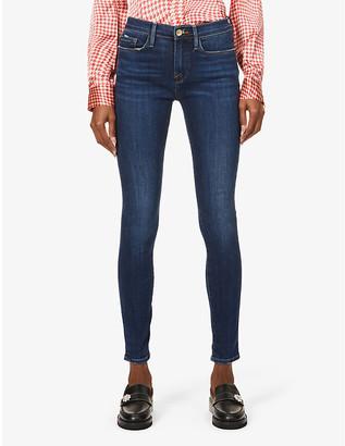 Frame Ladies Blue Cotton Le Skinny De Jeanne Mid-Rise Jeans, Size: 24