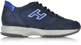 Hogan Dark Blue Fabric and Leather Sneaker