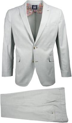 Savile Row Co Green Slim Fit Chambray Peak Lapel Suit