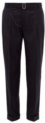 Officine Generale Pierre Pin-dot High-rise Belted Wool Trousers - Womens - Navy