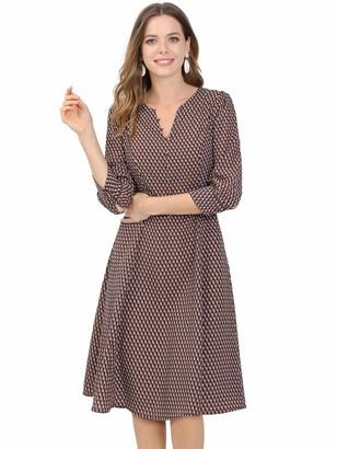 Allegra K Women's Geometric Print 3/4 Sleeve Button Front Work Split V Neck Dress Red 8