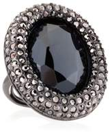 Kenneth Jay Lane Pave Gunmetal Black Stone Oval Statment Ring, One size