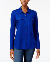 Karen Scott Button-Front Shirt, Created for Macy's