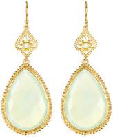 Argentovivo 18K Gold Plated Sterling Silver Framed Aqua Chalcedony Teardrop Earrings