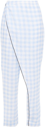 Marysia Swim Wrap-effect Gingham Linen Pants