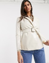 In The Style vinyl belted jacket
